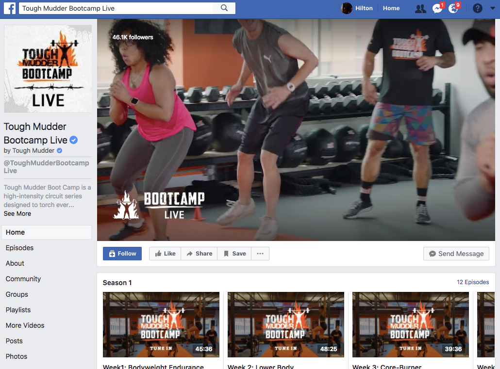 Tough Mudder's Facebook Watch shows average nearly 500K views